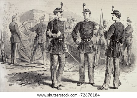 Old illustration of French National Guard uniforms. Original, created by Scott,, was published on L'Illustration, Journal Universel, Paris, 1868