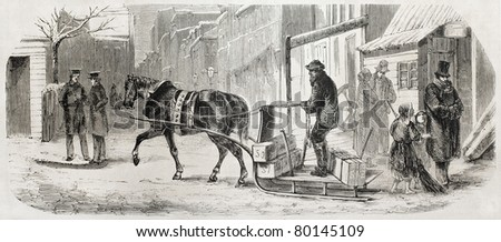 Old illustration of horse-drawn sleigh in New York. Created by Job, published on L'Illustration Journal Universel, Paris, 1857