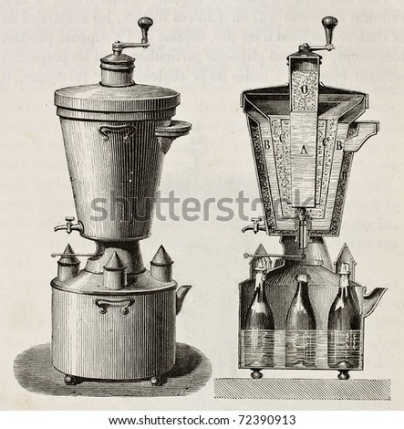 Old illustration of household cooling apparatus. Original, from unknown author, was published on L'Eau, by G. Tissandier, Hachette, Paris, 1873 - stock photo