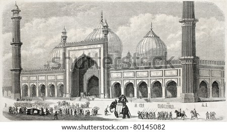 Old illustration of Jama Masjid, the principal mosque in Old Delhi. Created by Freeman, published on L'Illustration Journal Universel, Paris, 1857 - stock photo