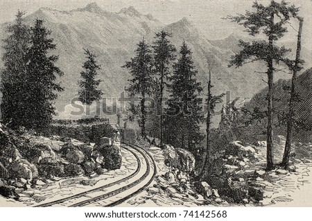 Old illustration of Mont Cenis railroad scenery (railway opened in 1868 and dismantled in 1871). Created by De Bar, published on L'Illustration, Journal Universel, Paris, 1868 - stock photo