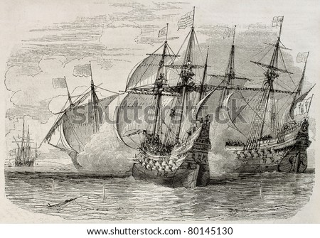 Old illustration of sea battle between French and British ships during the siege of La Rochelle. Created by Rouargue, published on Magasin Pittoresque, Paris, 1850 - stock photo