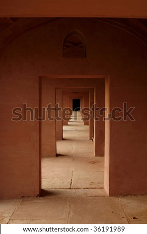 Old Indian temple in the Rajasthan area with it's captivating labyrinth of an interior - stock photo
