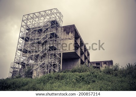 Old industrial building - processed colors - stock photo