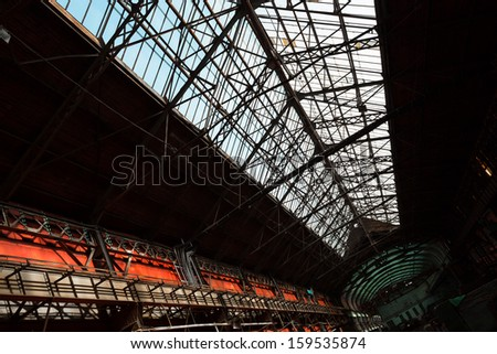 old industrial interior, roofing - stock photo