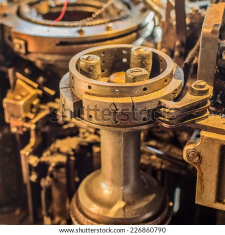 Old industrial machinery closeup - stock photo