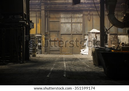 old industrial metal gate - stock photo