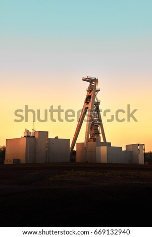 Old industrial mining complex during sunset in the Ruhrgebiet - Germany