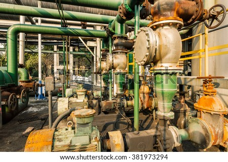 old industrial pipeline equipment in a abandoned steel mills - stock photo