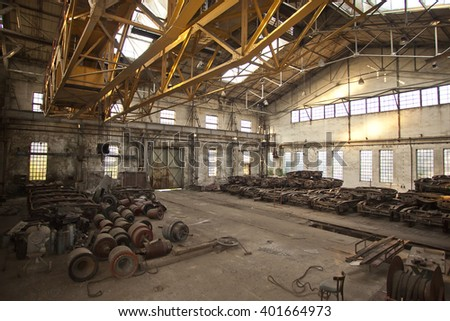 old industrial working place , grunge industry background