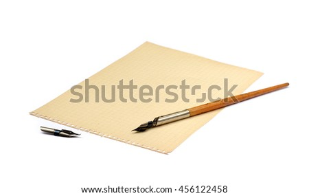 Old ink pen and paper isolated on white background