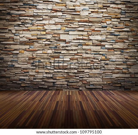 Old interior room with brick wall and light spots - stock photo