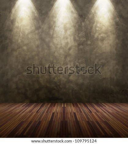 Old interior room with stone concrete wall and three light spots - stock photo