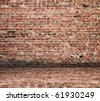 old interior with a brick wall and floor - stock photo