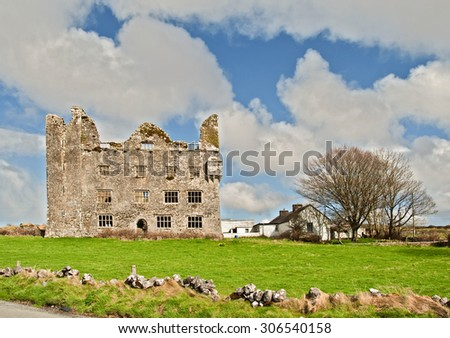 old irish castle on the west coast of ireland - stock photo