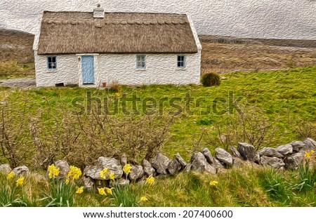 old irish cottage oil painting - stock photo