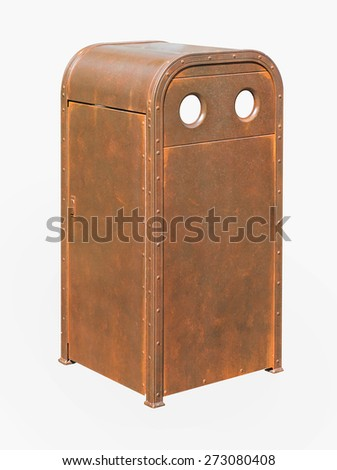 old iron bin isolated over white background. - stock photo