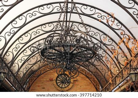 old iron chandelier - stock photo
