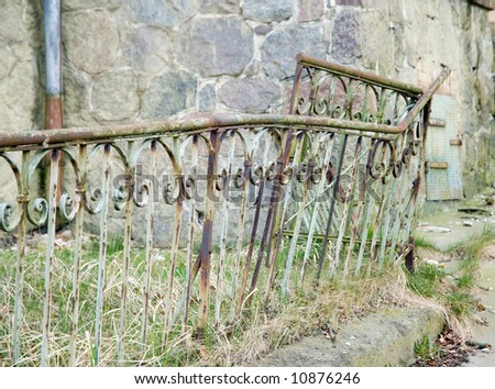 old iron fence in north germany - stock photo