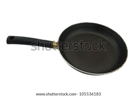 old iron frying pan, isolated on white