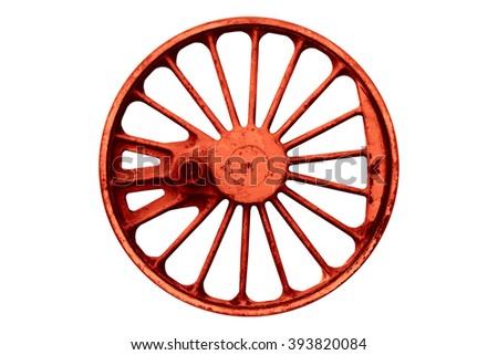 old iron locomotive wheel isolated on white background - stock photo