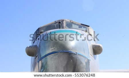 Old Isolated Airplane with Blue Sky