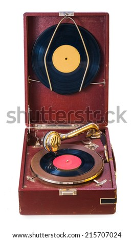old isolated gromophone - stock photo