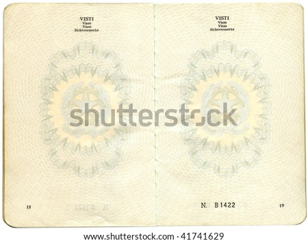 Old Italian passport. Page for visa marks - stock photo