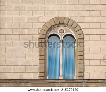 Old italian window - stock photo