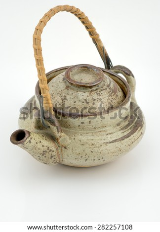 old japan teapot isolated on white background
