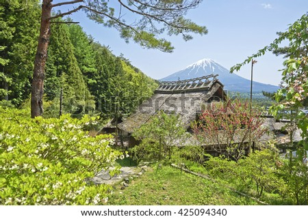 Old Japanese House and Fuji Mountain in japan.
