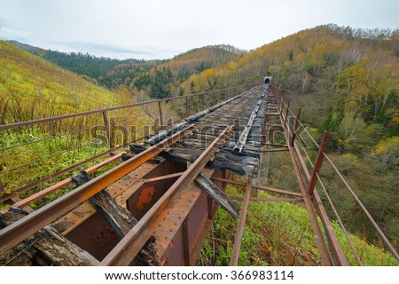 Old Japanese railways and bridges, Sakhalin Island, Russia. - stock photo