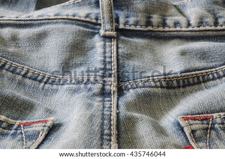 old jean back pant,stitch,seam. - stock photo
