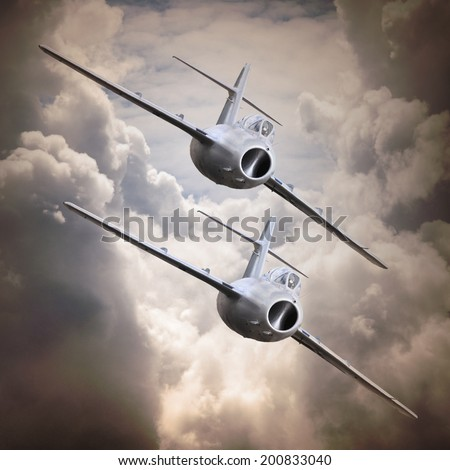 Old jet fighters. Retro technology background. - stock photo