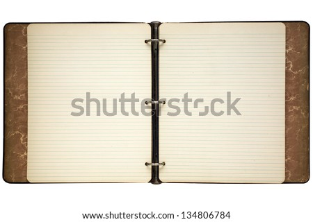 Old journal ring binder lined notepaper isolated on white. - stock photo