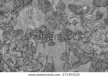 Old jungle background with black and white flowers on a gray and black background. - stock photo