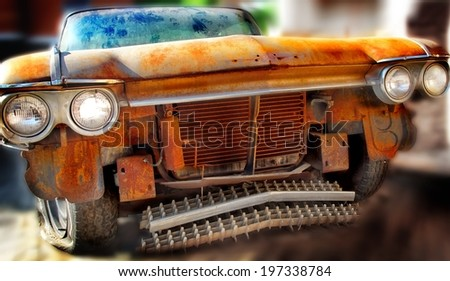 Old Junk Car. Tilt-Shift effect. - stock photo