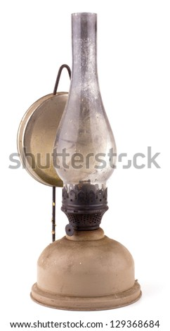 Old kerosene lamp isolated on white background