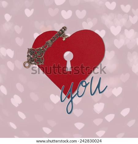 Old key and Heart shape from paper with keyhole Happy Valentines day, I love you, on small heart bokeh silhouette background, holiday card - stock photo