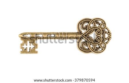 Old key isolated on white background. without shadow - stock photo