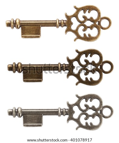 Old key made from gold, bronze or silver