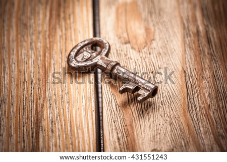 old key on a brown wooden background, close up