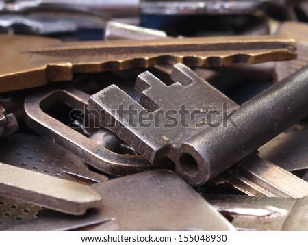 Old key texture - stock photo