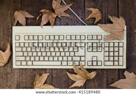 Old keyboard isolated on wood floor with oak leaves - stock photo