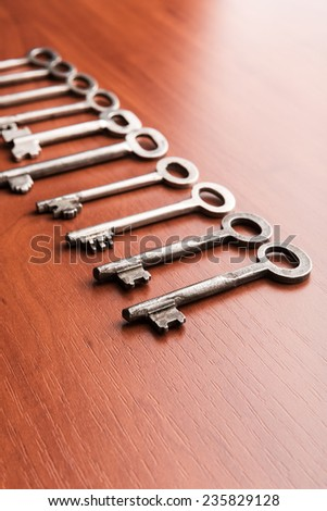 Old keys in a row - stock photo