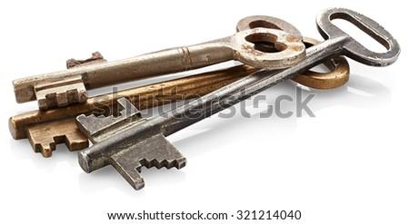 Old keys isolated on white background - stock photo