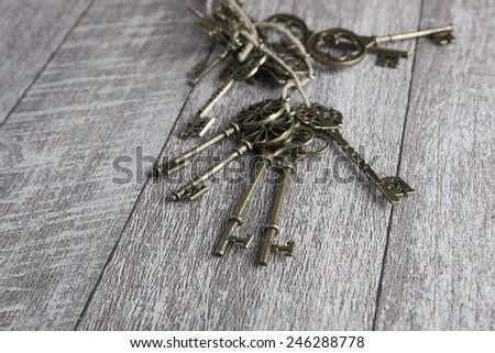 Old keys set, close up photo - stock photo