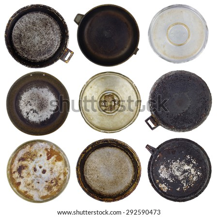 Old kitchen burned-down frying pans set. Isolated abstract collage