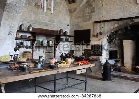 Old kitchen in the castle of Valencay, France, Loire valley - stock photo