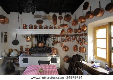Old kitchen  on Corfu island Greece - stock photo